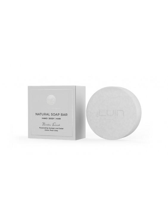 Barre de savon naturel Nordic Forest, gris perle