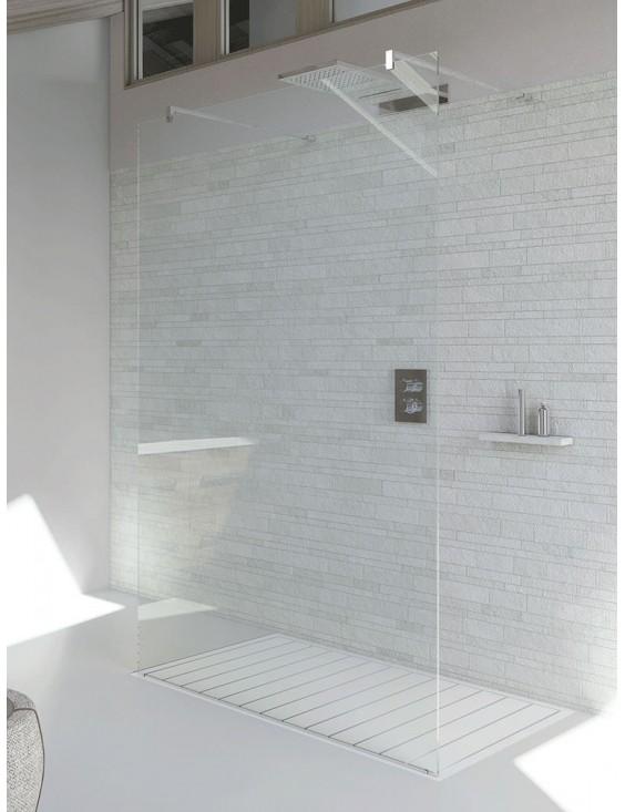 Paroi de douche fixe ouverte 2 côtés verre 6mm
