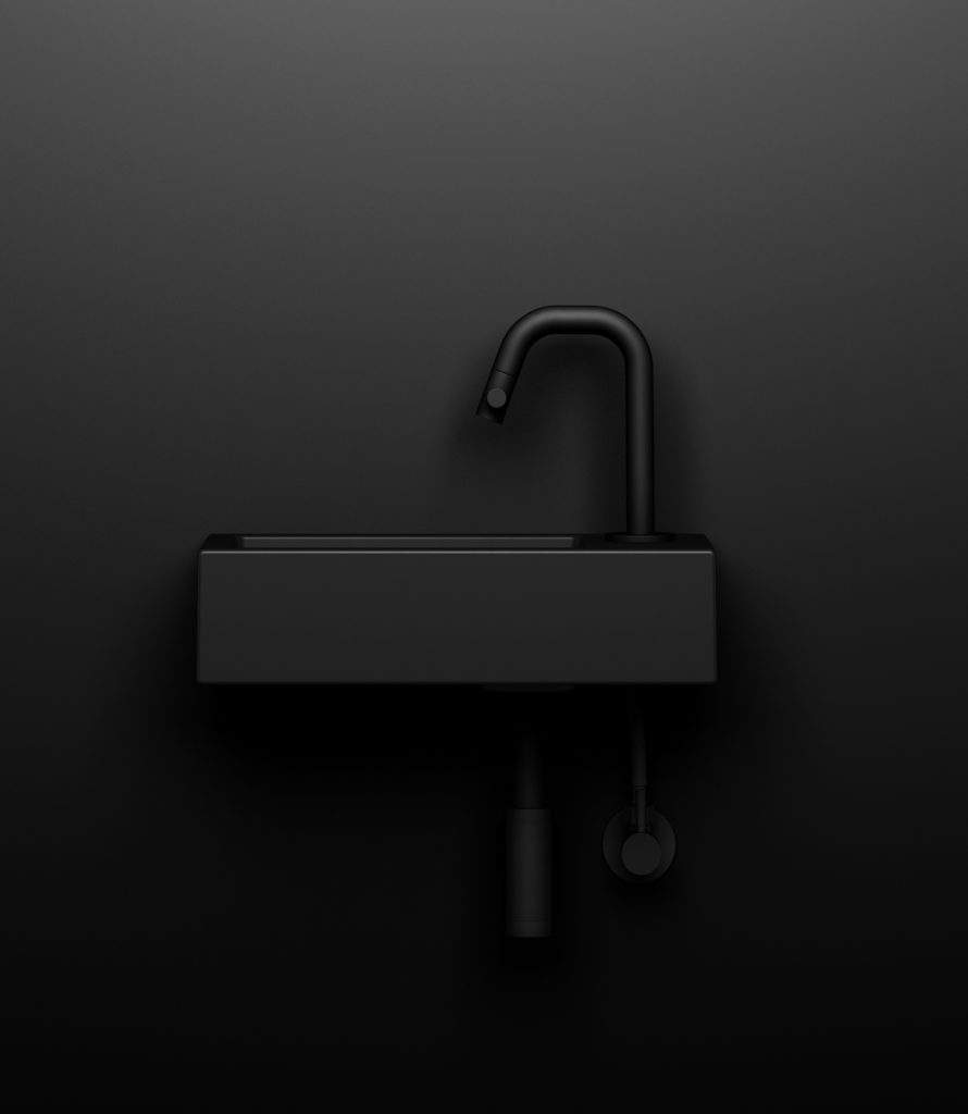 Lave main en céramique noire Flush 3 de Clou