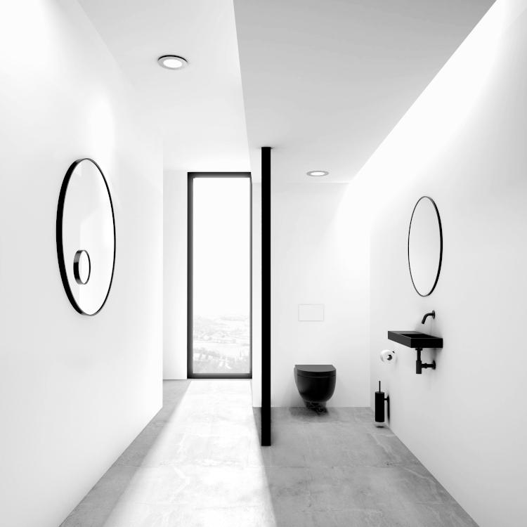 WC suspendu en céramique noire mate Hammock, de Clou